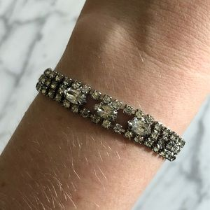 Vintage Jewelry - Vintage Marquis Cut Rhinestone Bracelet